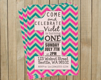Pink and Turquoise Chevron One First Birthday Invitation, Custom Digital File, Printable
