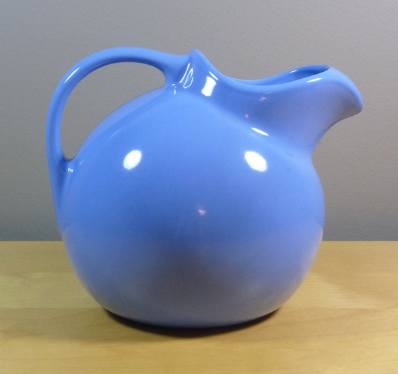 Hall China Ball Pitcher With Ice Lip Light Blue By