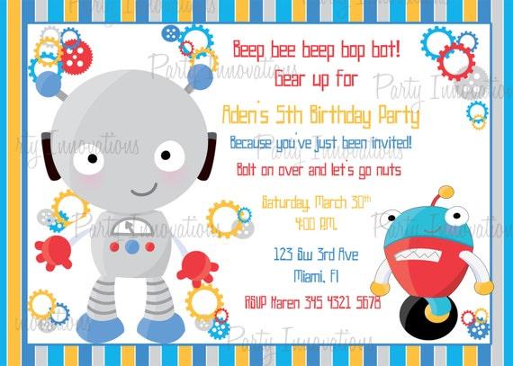Printable boy robot birthday party invitation plus free blank il570xn filmwisefo