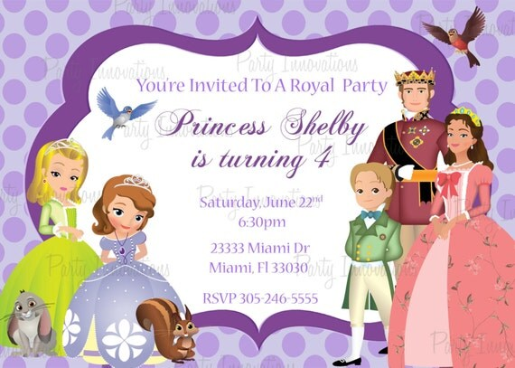 printable sofia the first birthday party invitation plus free blank