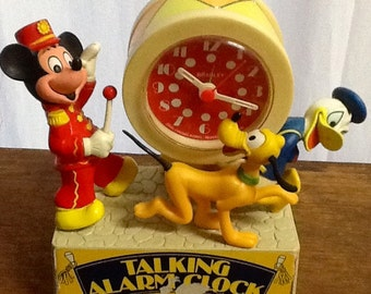 Mickey Mouse vintage 1960s talking alarm clock with Donald Duck