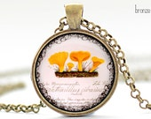 Yellow Mushrooms Necklace, Mycology Art Pendant, Mushroom Jewelry (093)