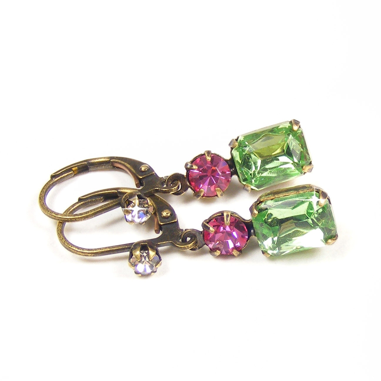 Petite Peridot Earrings, Great Gatsby Style Drop Earrings, Vintage Glass Rhinestones, Pale Green & Rose Pink, August birthday