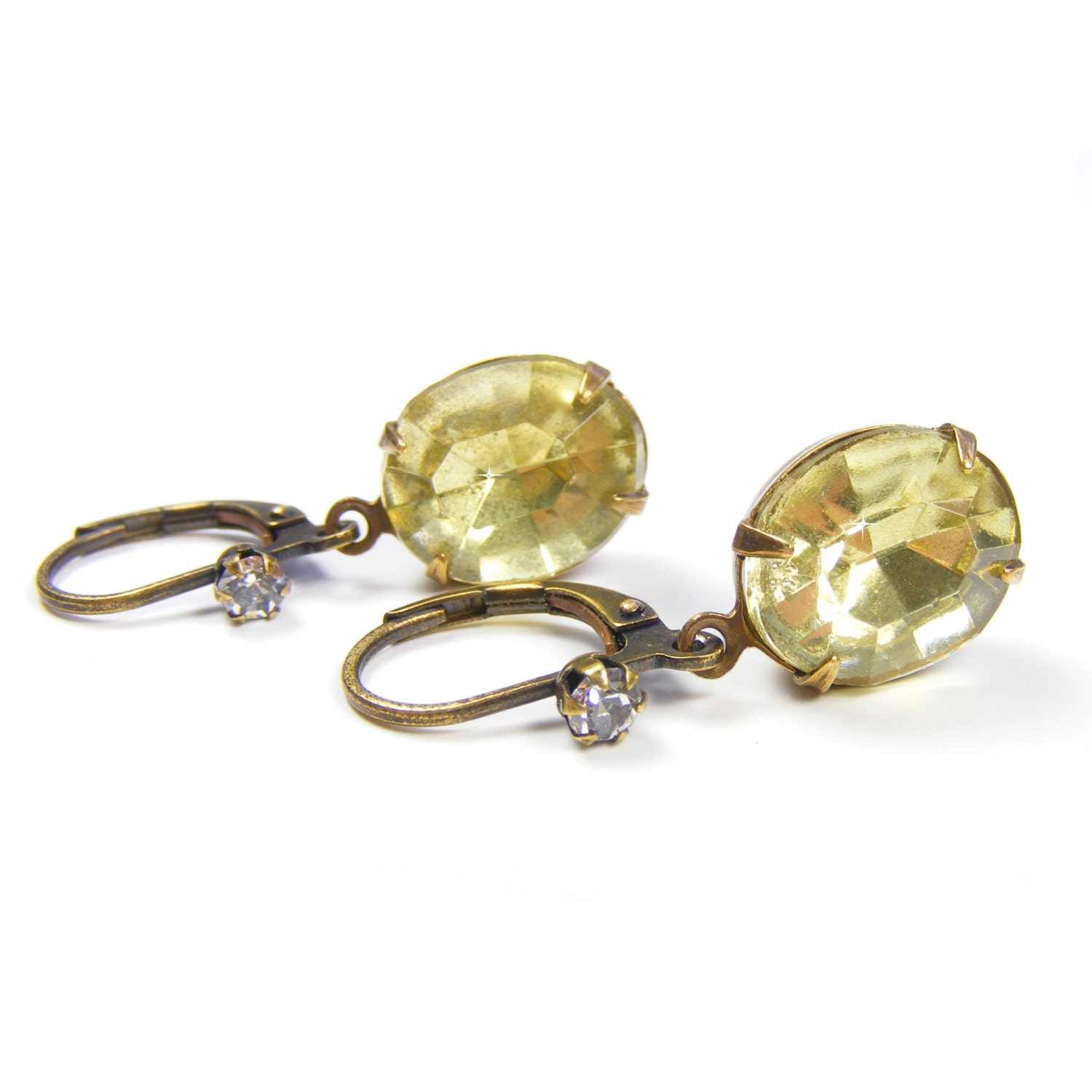 Lemon Rhinestone Drop Earrings, Genuine 1950s Vintage Crystal Jewels, Great Gatsby Style Vintage Inspired Jewellery