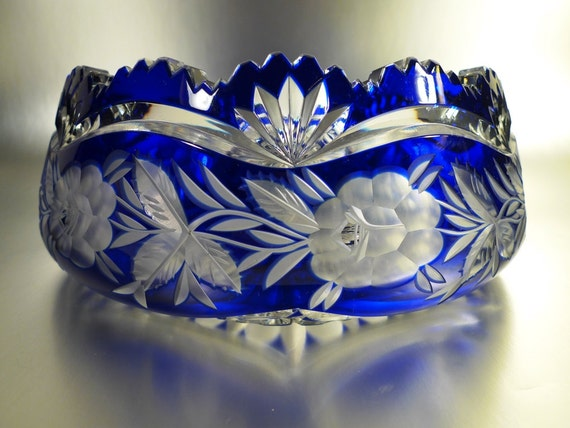 Blue Crystal Cut Glass Bowl Etched Flowers And Designs