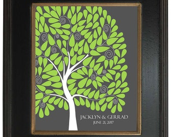 Modern Guest Book Alternative, Signature tree, 20x24 - Personalized Print Art Print, 146 guest sign in - Custom Tree Art Print  - 127
