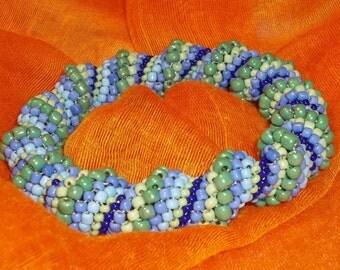 Beaded green blue spiral bracelet
