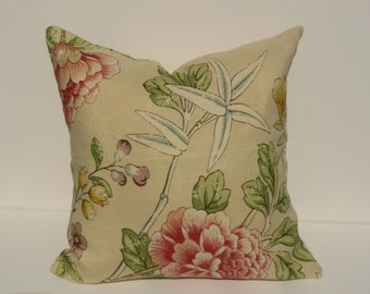 This listing is for one 18 X 18 inch Schumacher- Mandarin Peony in Alabaster -Pillow Cover- FRONT & BACK
