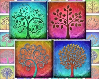 Tree of Life - 1 inch squares 25mm rainbow magic color trees digital collage sheet - Instant Download pendants magnets 2119