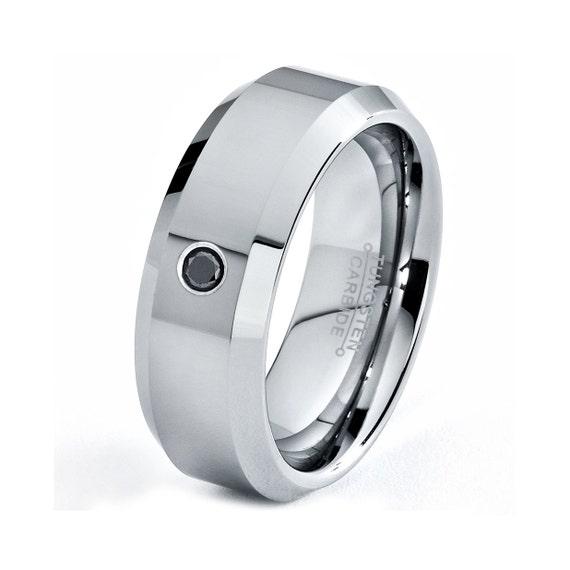 Tungsten Diamond Wedding Band Tungsten Diamond Ring By GiftFlavors