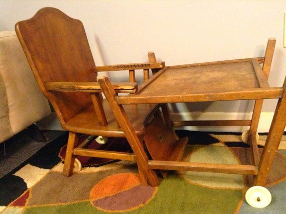 antique high chair converts to desk 1