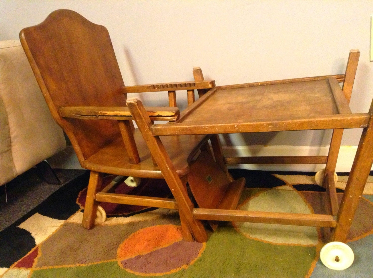 Superb img of 1950's Thayer Tops For Tots High Chair Convertible Desk by HUEisit with #C37C08 color and 1500x1120 pixels