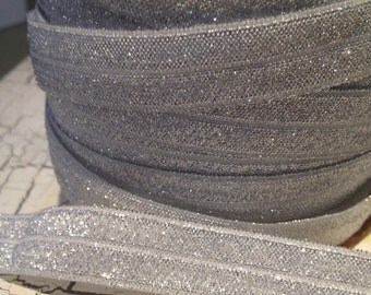 "5/8"" SILVER Metallic FOE Fold Over Elastic sold by the yard"