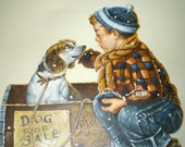 "Original Vintage Signed BILL BARDEN Framed Painting of a Boy & Dog for Sale 22""x26"""