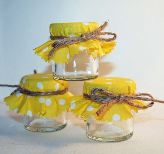 Sunshine Yellow Wedding Favour, Mini Jam Jar, DIY Wedding, DIY Favour, Favor