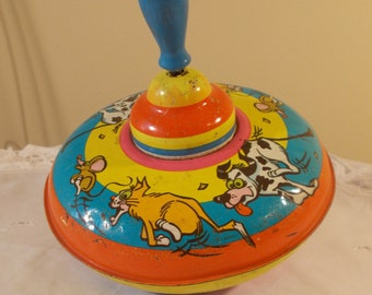 Vintage Collectible Ohio Art Child Toy Tin Spinning Top