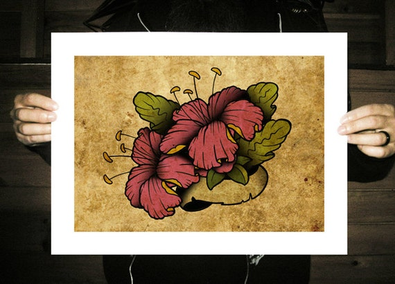 Hibiscus Neo-Traditional Tattoo Flash Tropical Flower by ...