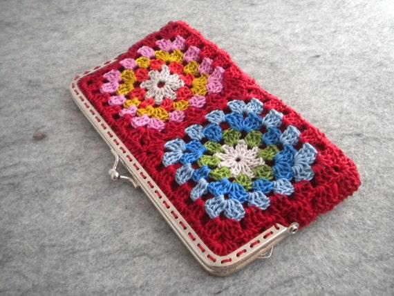 Granny Square Purse : Crochet Purse - Red crochet granny square bag with metalic strap