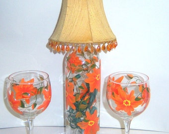 Wine Bottle Lamp Hand Painted Orange Flowers w/Shade Wine Glasses Upcycled Interior Design Night Light Lighted Bottle Lamp Set