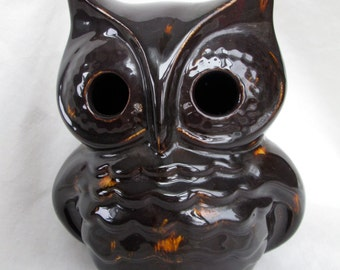 Vintage Ceramic Owl Lantern, Speckled Owl Candle Holder
