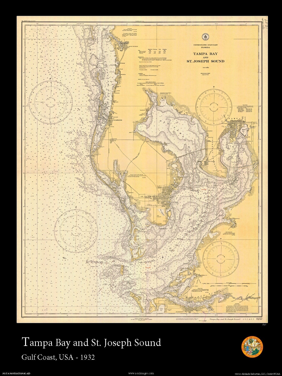 nautical map of tampa bay 1932. Black Bedroom Furniture Sets. Home Design Ideas