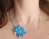 Square Necklace Flower: upcycled, recycled, fused plastic bags, chinese take out box handle, blue, silver, repurposed, reclaimed
