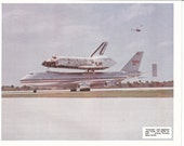 Space Shuttle Columbia Piggybacks 747 1980s Photo