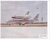 Space Shuttle Columbia Piggybacks 747 1980s Photo