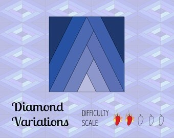 Diamond Variations paper pieced quilt pattern in PDF