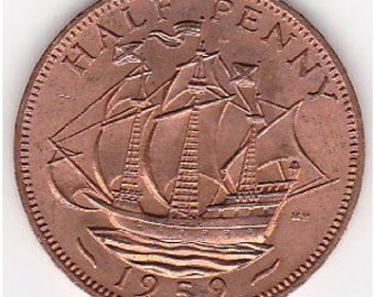 Lot of 10 coins - Great Britain Golden Hind ship coin - half penny - KM896 - 1953-1970 - circulated but shiny