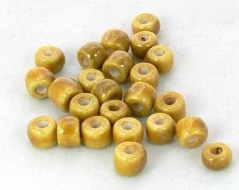 Porcelain Roundel Round Glazed Bead- Yellow Gold- 12 Beads