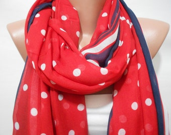 Patriotic Scarf Red White Blue Scarf Shawl July 4th Scarf Memorial Day Women Fashion Accessories Polka Dots Scarf Summer Scarf Gift For Her