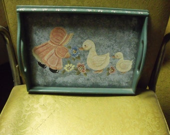 acrylic painted wood serving tray...girl and geese