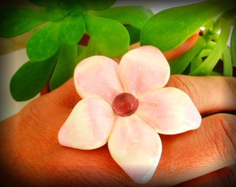 Flower shaped ring. Handmade flower shaped ring with polymer clay