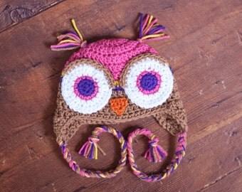 Crochet Owl Hat  Newborn to Adult