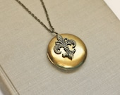 Brass Locket Necklace, Fleur de Lis, Mothers Day gift