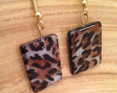 Leopard print shell earrings