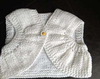 Custom Knit White Vest for Baby Girl