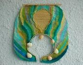 Handmade Woven Textile Wall Hanging by Silvia Hara. Size: 21.7  x 22.8 '' - SilviaHara