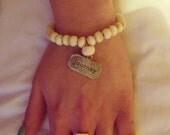 Cream Bone Mala Bead Wrist Bracelet with Journey Pendant