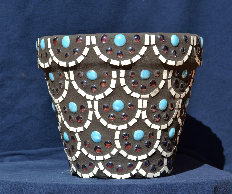 Items similar to mosaic flower pot scallop design sold for Flower pots design images