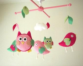 """Baby crib mobile, Bird mobile, Owl mobile, felt mobile, nursery mobile, baby mobile""""Night Friends pink-green"""""""