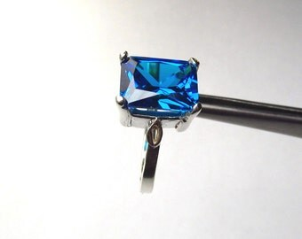 CLEARANCE  Intense Deep Blue CZ Octagon Princess in Sterling Silver Ring