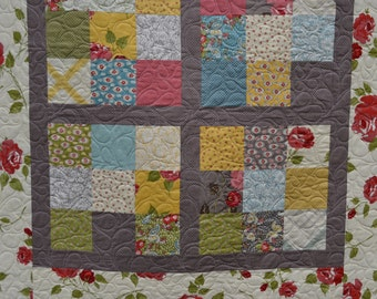 Baby girl quilt, toddler quilt, urban cowgirl, handmade quilts, modern baby quilts,