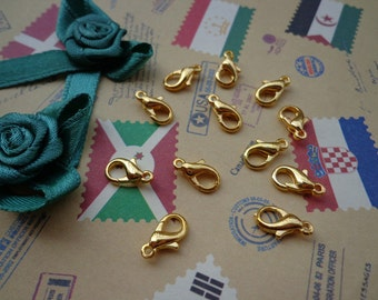 Sale-- 50pcs Gold Plated Iron Lobster Claw Clasp Lobster Clasp 10X5mm