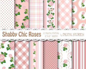 "Shabby Chic Digital Paper: ""SHABBY DUST PINK"" Floral background with roses for scrapbooking, invites, cards"