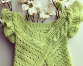 Hand knitted cape cardigan mint green, baby 6-12 months old