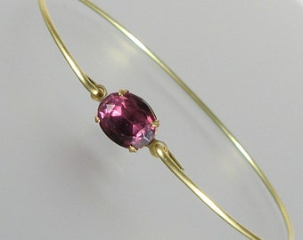 Amethyst Vintage Glass Gold Bangle Bracelet, Gold Bangle Bracelet, Gold Bracelet, Bridesmaid Jewelry (G102smG.)