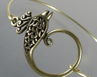 Gold Phoenix Bangle Bracelet, Gold Bangle Bracelet, Gold Phoenix Bracelet, Bridesmaid Gift (107G,)