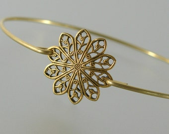 Gold Round Filigree Bangle Bracelet, Gold Bangle Bracelet, Gold Bracelet, Bridesmaid Jewelry, Bridesmaid Gift, Wedding Party (160G,)